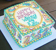 Paisley Square Cake Teal Gold Mauve