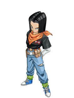 Artwork oficial sobre el Androide Número 17. Sacado del videojuego Dragon Ball Z: Dokkan Battle.