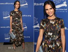 ✶Jordana Brewster attended the 24th annual Beat The Odds Awards held at Book Bindery, 4 December 2014 in Culver City, CALIFORNIA. The actress wore a charming Valentino Fall 2014 dress, which nods to the inherent beauty of nature with its abstract butterfly print. Looking demure, she styled her ensemble with grey accessories, including a Valentino 'Rock Stud' clutch, the dress remains firmly in focus as a wearable work of art.✶