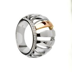 Buy House Of Lor Silver Cubic Zirconia Rose Gold Curved Bar Ring for just Irish Jewelry, Chunky Rings, Ring Size Guide, Centre Pieces, Jewelry Accessories, Rings For Men, Wedding Rings, Rose Gold, Pure Products