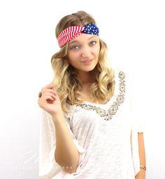 Show your patriotic side with this light weight and fashionable chiffon Flag turban Headband by My Fashion Creations.