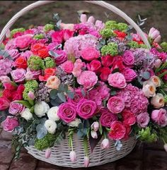 DON'T WAIT...LIFE GOES FASTER THAN YOU THINK Beautiful Bouquet Of Flowers, Amazing Flowers, Beautiful Roses, Pretty Flowers, Basket Flower Arrangements, Beautiful Flower Arrangements, Floral Arrangements, Good Morning Flowers, Arte Floral