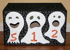 Greedy Ghosts Game for Halloween. Throw balls or bean bags or candy in and keep score! Copyright Pamela Maxwell 2013