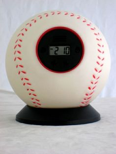 a baseball alarm clock! would be perfect for the guest/yankee bedroom!