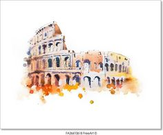 Watercolor drawing of Coliseum in Rome. Free art print of Watercolor drawing of Coliseum in Rome. Watercolor Drawing, Watercolor Landscape, Watercolor Illustration, Logo Tigre, Watercolor Architecture, Free Art Prints, Funny Slogans, Amazing Drawings, Italian Art