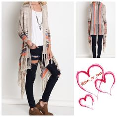 MEGA SALE  Striped & Fringed Cardigan Striped Long Sleeve Cardigan with Long Fringe Trim Sweaters Cardigans