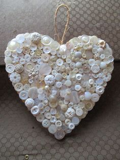 Beautiful heart made out of vintage buttons by Bilancia Designs Heart Button, Button Art, Button Crafts, Heart Shaped Rocks, Crafts To Make, Diy Crafts, Button Ornaments, Heart In Nature, Fabric Hearts