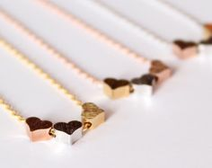 3 hearts necklace tiny three hearts gold silver rose by MissDiary