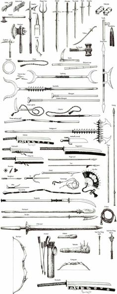 Dungeons and Dragons weapons chart Ninja Weapons, Weapons Guns, Samurai Weapons, Anime Weapons, Katana, Drawing Tips, Drawing Reference, Knife Drawing, Sword Drawing