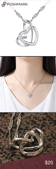 Sterling Silver 925 Double Heart Necklace Brand new Jewelry Necklaces