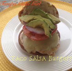 Taco Salsa Burgers | Tampa Cake Girl Pretzel Bun, Pepper Jack Cheese, Garlic Salt, Girl Cakes, Taco Seasoning, Ground Beef, Burgers, Hot Dogs, Hamburger