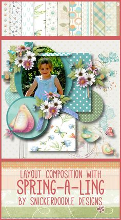 Ready to scrap your spring or Easter photos?  Spring-A-Ling is a fun digital scrapbook kit filled with elements for spring showers or sunny days.