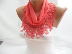 Women Honeysuckle Cotton Scarf  Headband  Cowl with Lace by DIDUCI, $13.50