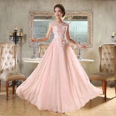 Beautiful Pink Long Chiffon Bridesmaid Evening Formal Party Ball Gown Prom Dress
