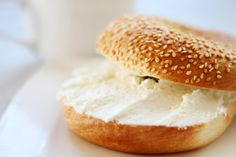 When that cream cheese on a bagel lands upside down, learn how to remove cream cheese stains from clothes, carpet, and upholstery. Japanese Crepes, Cheese Bagels, Savory Pastry, Quites, Donuts, Waffles, Bread, Upholstery, Carpet