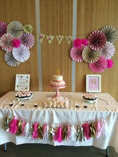 Pink and gold ombre birthday party. Cake and mini cupcakes dessert table.