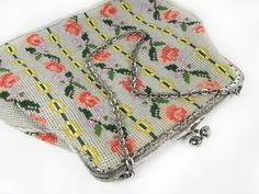 Vintage Embroidered Purse with Pink Roses Hand Made by MyChouChou, $24.00