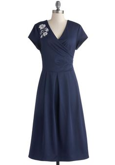 Demure All I Want Dress - Blue, Solid, Embroidery, Party, A-line, Short Sleeves, V Neck, Long, Knit, White, Pleats