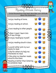 """Use this quick Reading Attitude Survey to find out how your students feel about reading. For readers/writers pass out to individual students and have them complete on their own. For the younger non-readers (but """"readers"""" of pictures and pretend reading) read the questions to them and have them circle the emoticon that best describes. Emoticon faces include: Angry (do not agree at all), Neutral face (kind of) and Smiley with heart (I love to!)"""