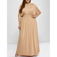 $24.59 Plus Size Shirred Cut Out Maxi Dress - Apricot