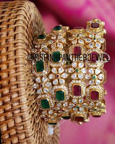 No photo description available. Hand Jewelry, Rose Jewelry, Emerald Jewelry, Gold Ring Designs, Gold Bangles Design, Jewelry Design, Plain Gold Bangles, Gold Jhumka Earrings, Bridal Bangles