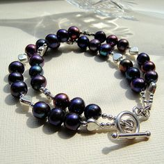 Midnight Pearls Double String Silver Bracelet £30.00