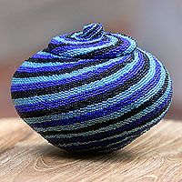 Beaded rattan basket, 'Blue Vortex Diamond'