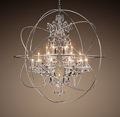 19th C Rococo Iron Crystal Chandelier Extra Large Restoration