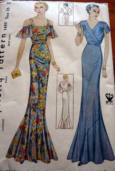 30s long dress gown floral off shoulder bias cut blue yellow red flutter sleeves vintage fashion style deco Simplicity 1489 1930s