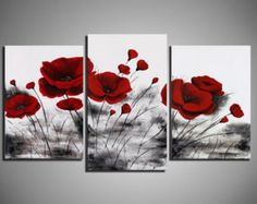 Red blue Poppies Big Painting on canvas poppy by KsaveraART