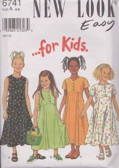 New Look 6741 Sewing Pattern Girls Dresses Size A 4-9