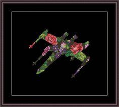 Star Wars Cross Stitch PDF pattern Floral X-wing Silhouette
