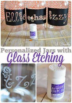 Glass Etching with Vinyl Stencils! Diy Glass Etching, Glass Etching Stencils, P… - Bottle Crafts Mason Jar Crafts, Bottle Crafts, Crafts With Glass Jars, Glass Etching Stencils, Diy Glass Etching, Inkscape Tutorials, Glass Engraving, Glass Blocks, Bottle Art