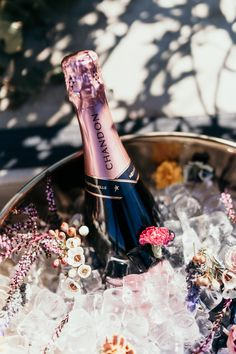Elevate your Rosé serve by garnishing an ice bucket with edible florals Garnishing, Champagne Taste, Edible Flowers, Voss Bottle, Florals, Bucket, Bloom, Ice, Entertaining