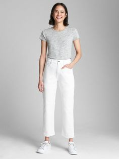 High Rise Wide-Straight Jeans | Gap
