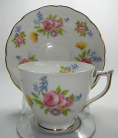 Melba Fine Bone China Teacup Saucer Set Floral Pattern | eBay