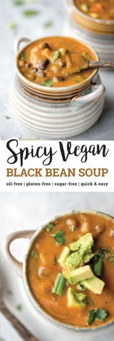 This spicy vegan black bean soup is hearty, thick, full of flavor and nutrition, and has just the right amount of spice. It's high in fiber and protein, low in fat and is oil-free, gluten-free and easy to make in under 30 minutes. #vegan #glutenfree