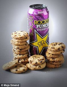 OCKSTAR PUNCHED ENERGY & GUAVA (500ml) contains as much sugar as 20 Maryland cookies 335 calories 0g fat 78g sugar