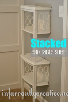End Table cut in half and stacked on top of one another to create a mini bookshelf