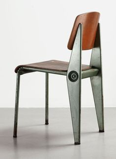 Wood & metal chair by Jean Prouve