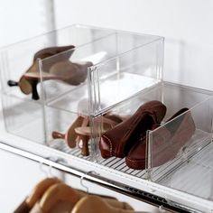 $9.99 Premium Stacking Shoe Bin Each holds two pairs of women's shoes or one pair of men's