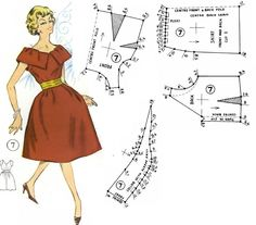 Dress with Neckline Detail Pattern