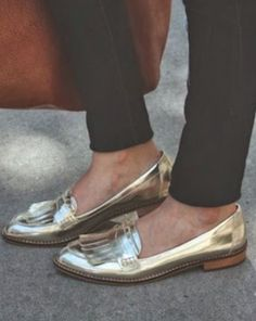 Metallic loafers for autumn