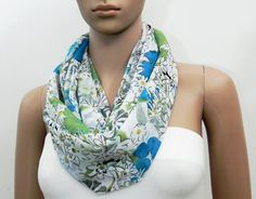 Blue Infinity Scarf Blue White Scarf Floral Scarf by FashionPopups