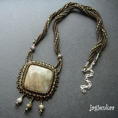 Earth Tones - The Stand by jagienkaa on DeviantArt Bead Embroidery Jewelry, Beaded Embroidery, Beaded Jewelry, Jewelry Necklaces, Beaded Necklace, Pendant Necklace, Jewellery, Earth Tones, Deviantart