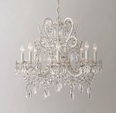 Manor Court Crystal 8-Arm Chandelier Vintage White