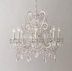 Manor Court Crystal 8-Arm Chandelier Vintage White