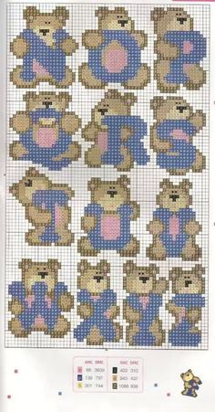 Teddy Alphabet Pattern N-Z