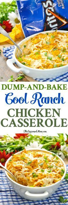 This Dump-and-Bake Cool Ranch Chicken Casserole is an easy dinner recipe for busy families! Chicken Breast Recipes   Easy Dinners   Dinner Ideas   One Pot Meals #chicken #dinner