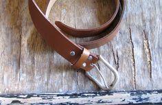 SALE Vintage Leather Belt Unisex brown belt Silver by artwardrobe, $20.00